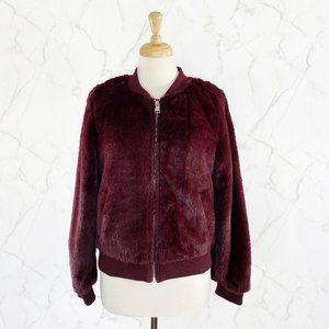 Love Tree Faux Fur Full Zip Bomber Jacket